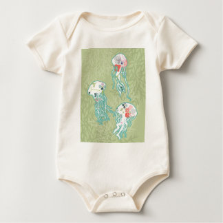 Jellyfishes on pastel green, baby bodysuit