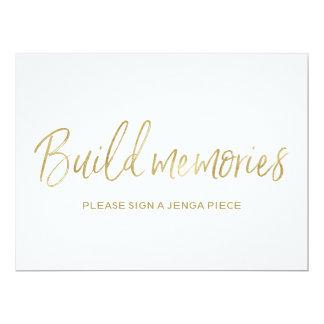 "Jenga Wedding Sign ""Build memories""| Stylish Gold Card"