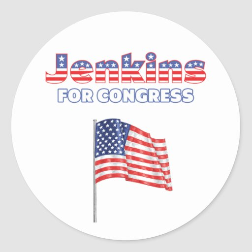 Jenkins for Congress Patriotic American Flag Round Sticker