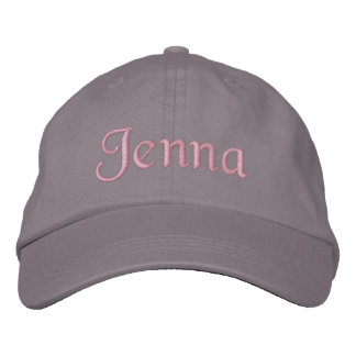 Jenna Embroidered Baseball Cap Hat Pink Gray