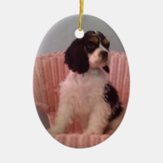 Jenna , Tri cocker spaniel puppy Ceramic Oval Decoration