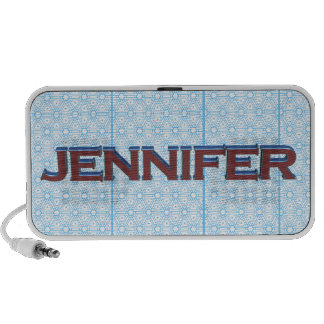 Jennifer 3D text graphic over light blue lace Travel Speakers
