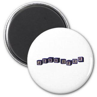 Jennifer toy blocks in blue. 6 cm round magnet