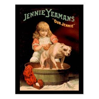 Jenny Yeaman's Girl Washing Dog Post Card