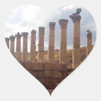 Jerash Roman Columns Heart Sticker
