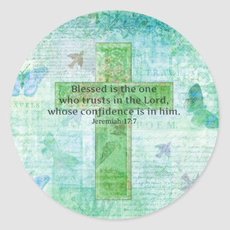 Jeremiah 17:7 Blessed is the man Bible verse cross Classic Round Sticker