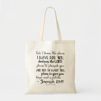 Jeremiah 29:11 Christian Bible Faith Tote Bag