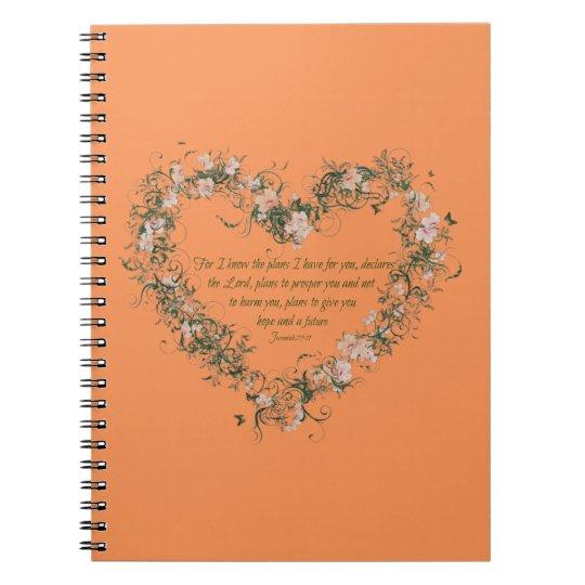 Jeremiah 29:11 Flower Heart Spiral Photo Notebook