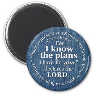 Jeremiah 29:11 I Know the Plans Bible Verse Denim 6 Cm Round Magnet