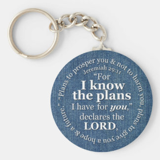Jeremiah 29:11 I Know the Plans Bible Verse Denim Key Ring