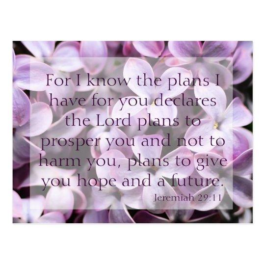 Jeremiah 29:11 Lilacs Postcard