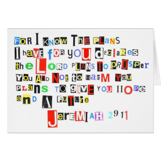 Jeremiah 29:11 Ransom Note Card