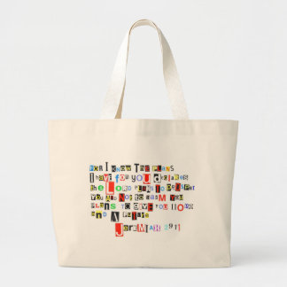 Jeremiah 29:11 Ransom Note Large Tote Bag
