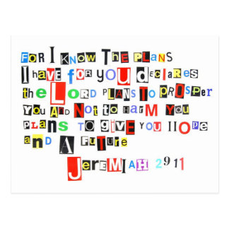 Jeremiah 29:11 Ransom Note Postcard