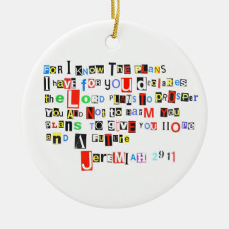 Jeremiah 29:11 Ransom Note Style Christmas Ornament