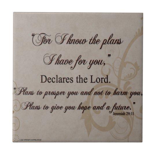 Jeremiah 29:11 Scripture Gift Small Square Tile