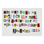 Jeremiah 29:13 Ransom Note poster