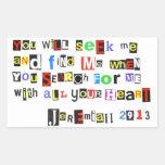 Jeremiah 29:13 rectangular sticker