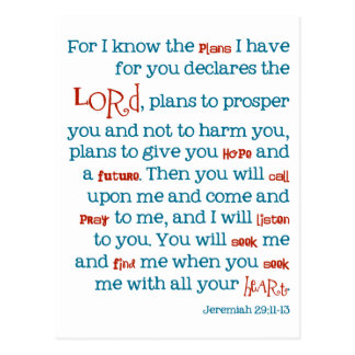 Jeremiah Plans Christian Bible Quote Card Notecard Postcard