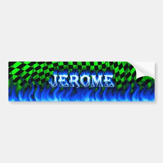 Jerome blue fire and flames bumper sticker design.
