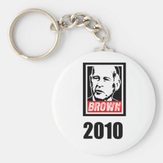JERRY BROWN 2010 BASIC ROUND BUTTON KEY RING