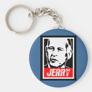 JERRY BROWN BASIC ROUND BUTTON KEY RING
