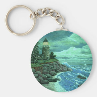 JERRYS LIGHTHOUSE  by Ave Hurley Basic Round Button Key Ring