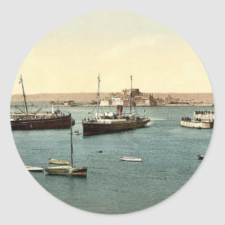 Jersey, arrival of boats, St. Heliers, Channel Isl Round Stickers
