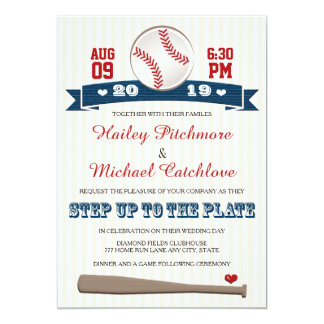 Jersey Baseball Themed Wedding Invitations