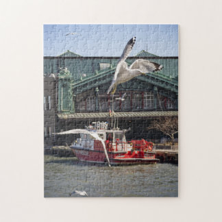 Jersey City Fireboat with Sea Gulls Puzzle