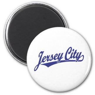 Jersey City script logo in blue 6 Cm Round Magnet