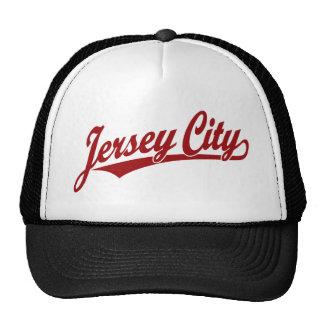 Jersey City script logo in red Cap