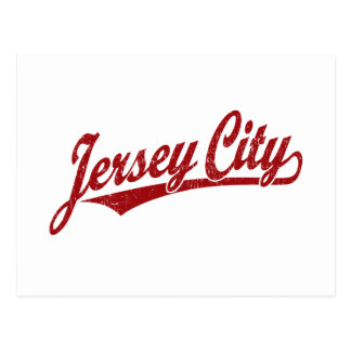 Jersey City script logo in red distressed Postcard