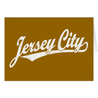 Jersey City script logo in white distressed Greeting Card