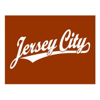 Jersey City script logo in white Postcard