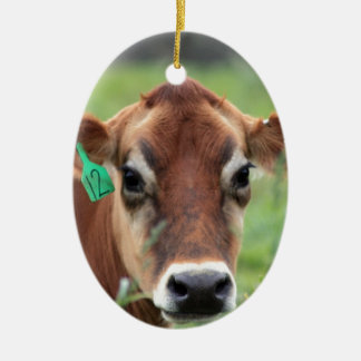 Jersey Cow Ceramic Oval Decoration