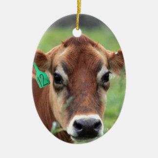 Jersey Cow Ceramic Oval Decoration