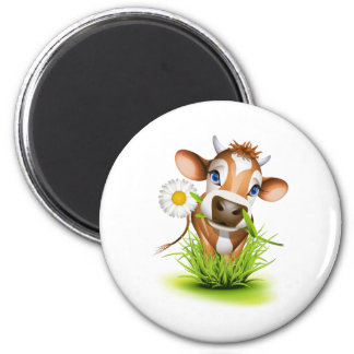 Jersey cow in grass 6 cm round magnet