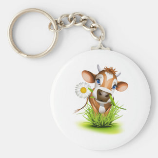 Jersey cow in grass basic round button key ring