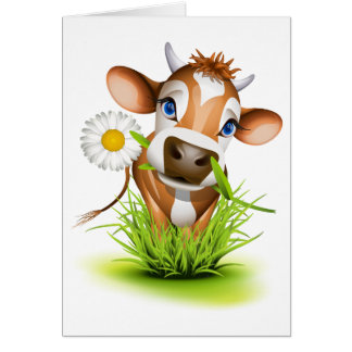 Jersey cow in grass greeting card