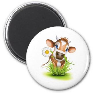 Jersey cow in grass 6 cm round magnet
