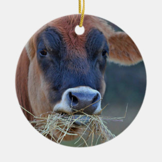 Jersey Cow Round Ceramic Decoration