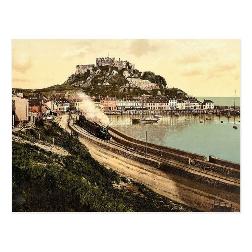 Jersey, Gorey and the castle, Channel Island, Engl Post Card