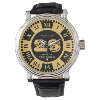 Jersey Number Black and Gold Varsity Colors Watch