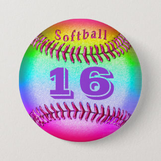 Jersey NUMBER on Softball Buttons Pins for Girls