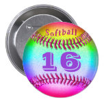 Jersey NUMBER on Softball Buttons Pins for Girls Pin