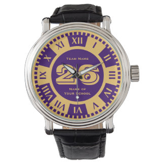 Jersey Number Royal Purple and Gold Varsity Colors Wrist Watches