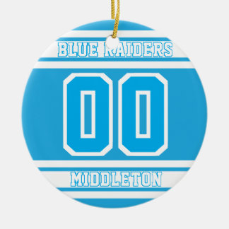 Jersey Sport Style | DIY Text | Baby Blue 2 Christmas Ornament