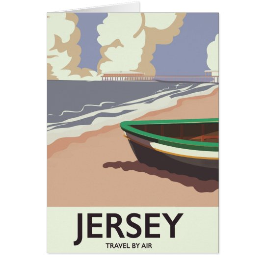 Jersey vintage seaside travel poster card