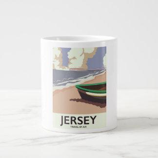 Jersey vintage seaside travel poster large coffee mug